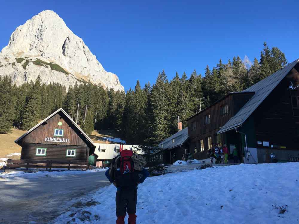 Bei der Oberst-Klinke-Hütte angekommen