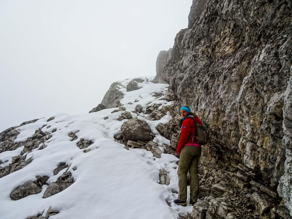 Das letzte Band unter dem Gipfel des Birnhorn - oben wird uns starker Wind erwarten.