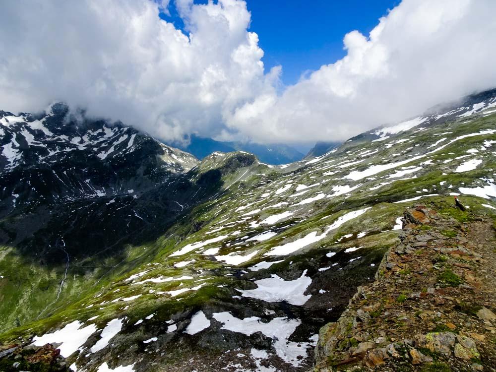 """Von der Messelingscharte führt der Weg nach nordwest zur St.Pöltener Hütte - dort ist der """"Felber Tauern"""""""