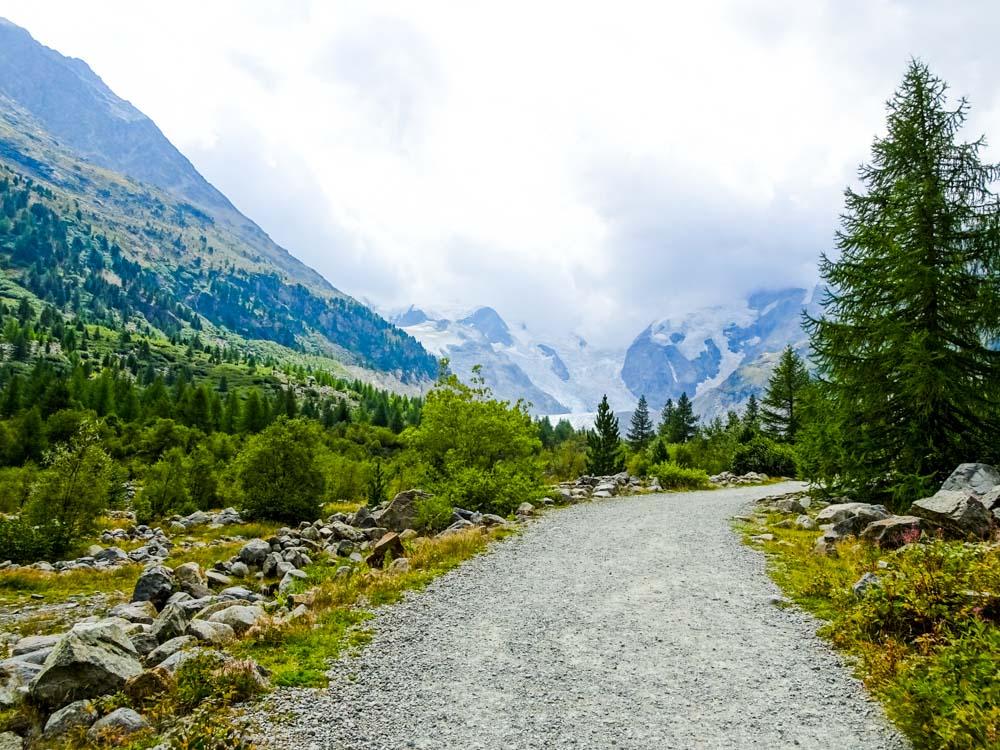 Der schöne Abstiegsweg zum Hotel Morteratsch