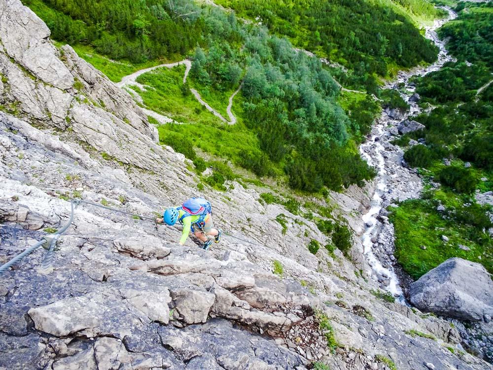 Der Klettersteig (B) ist schwieriger als gedacht...