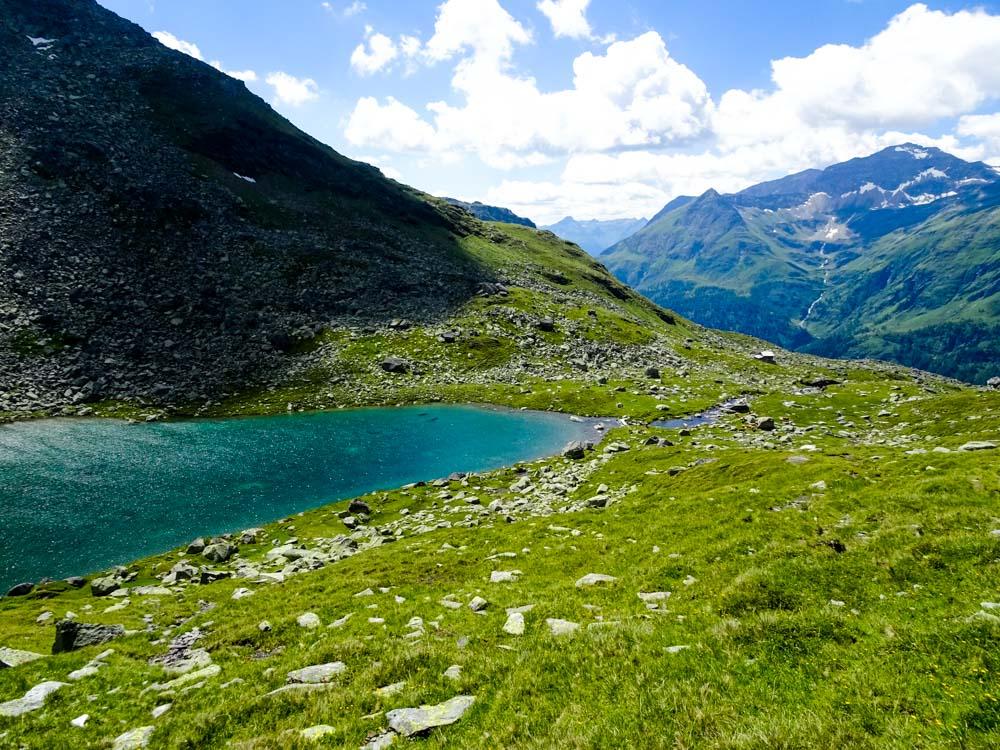 """Der erste der 3 Seen unter der Messelingscharte - der """"Grüner See"""""""